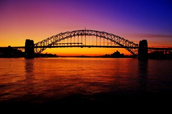 Harbor bridge at sunset